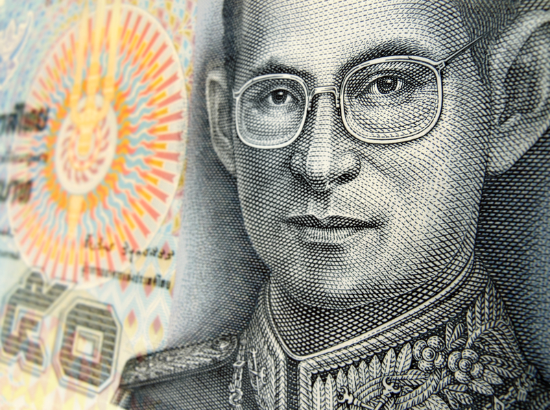 His Majesty King Bhumibol Adulyadej, King of Thailand, on the 50 baht bill.